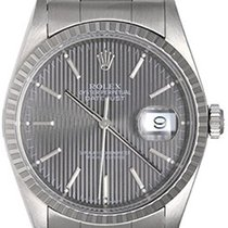 Rolex Datejust Men's Steel Watch 16220 Gray Tapestry Dial