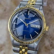 Bulova Swiss Made 1980s Day Date Mens Gold Plate and Stainless...