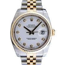 Rolex Datejust 36 116233-WHTDFJ White Diamond Fluted Yellow...