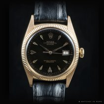 Rolex Ovettone Datejust 6305 pink gold black dial