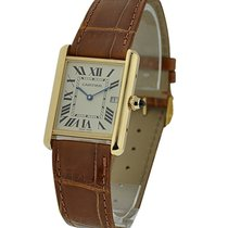 Cartier W1529756 Tank Louis Yellow Gold - On Brown Leather...
