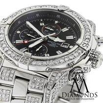 Breitling Super Avenger Black A13370 Covered Over 13ct Diamond...