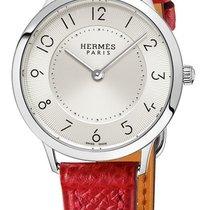 Hermès Slim d Silver Dial Ladies Red Leather Watch
