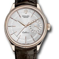 Rolex 50515 Cellini Date Silver Dial Leather Strap Rose Gold