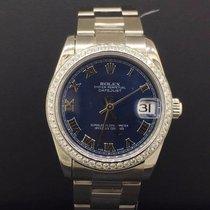 Rolex Datejust Steel 31mm Blue Roman Dial Custom 1CT Diamond...