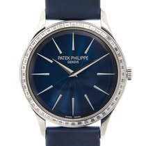Patek Philippe Calatrava 18k White Gold With Diamond Blue...