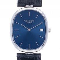 Patek Philippe Ellipse Datum Stahl Quarz Armband Leder 33x28mm...