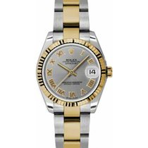Rolex Datejust Ladies Midsize 178273-STLRO Steel Roman Yellow...