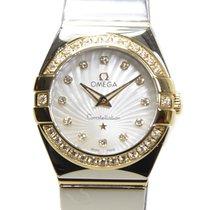 Omega Constellation 18k Gold Diamond Steel White Quartz...