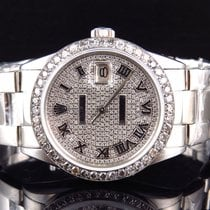 Rolex Mens Rolex 36 MM Datejust Oyster Pave Stainless Steel...