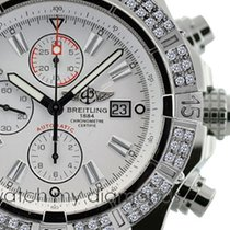 Breitling Super Avenger Watch A13370 White Sticks Dial 2.00ct...