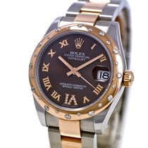 Rolex Lady 31 Chocolate Dial Steel and 18K Rose Gold Diamonds