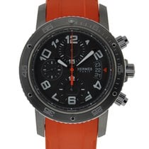 Hermès Clipper Chronograph Titanium Case Stainless Steel Bezel...