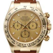 Rolex Daytona 116518 Yellow Gold on Strap Champagne Dial 40mm
