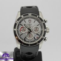 Tudor GRANTOUR CHRONOGRAPH WHITE DIAL BLACK LEATHER STRAP 20530N