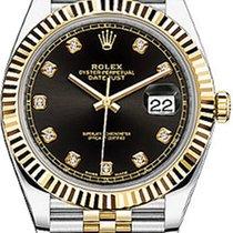 Rolex Datejust 41 126333-BLKDJ Black Diamond Yellow Gold...