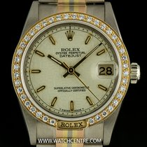 Rolex 18k Tridor Cream Dial Diamond Set Mid-Size Datejust 68149