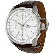 Oris Artix Silver Dial Chronograph Brown Leather Strap