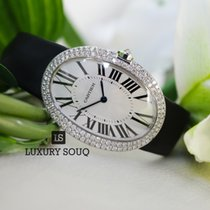 Cartier Baignoire Large White Gold Diamond Bezel Silver Dial