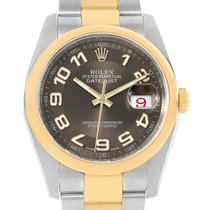 Rolex Datejust Steel Yellow Gold Brown Arabic Dial Mens Watch...