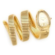 Bulgari Yellow Gold Serpenti Diamond Triple Wrap Watch Ref....