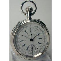 ロンジン (Longines) , Zangenchronograph, offene Silber Taschenuhr...