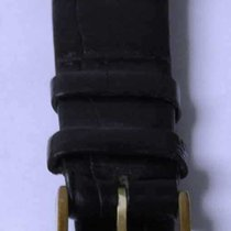 Longines vintage leather strap black mm 16 and buckle gold plated