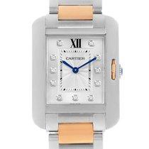 Cartier Tank Anglaise Medium Steel Rose Gold Diamond Watch...