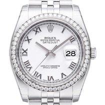 Rolex Datejust 36 Weißgold Diamant Lünette 116244 Weiß R Jubile-B