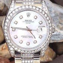 ロレックス (Rolex) 34mm Date Stainless Steel Diamond Oyster Band...
