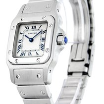 Cartier W20056D6 Santos 24MM Silver Guilloche Dial Women Steel...