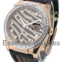 Rolex Unworn 116185bbr Rose Gold Zebra - Royal Pink - Baguette...