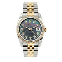 Rolex Datejust Men's 36mm Black Mother Of Pearl Dial...