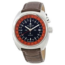 Glycine Airman SST 12 Black Dial Men's Leather Watch