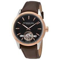 Raymond Weil Freelancer Black Dial Leather Strap Men's...