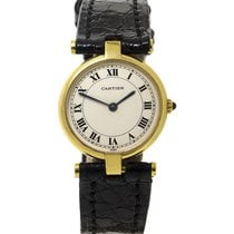 Cartier Vendome 18ct Yellow Gold Watch on Black Leather