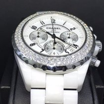 Chanel J12 Chronograph 41mm White Ceramic Factory Diamond...