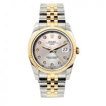 Rolex Date Unisex 34mm Off White Dial Stainless Steel And Gold...