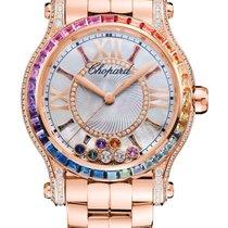 Chopard Happy Sport 18K Rose Gold, Sapphires & Diamonds...