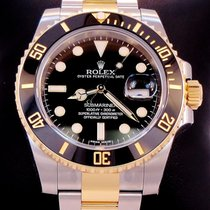 Rolex Two Tone Submariner 18k Y Gold & Ss Blk Ceramic...