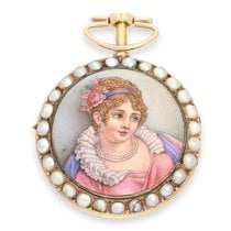 Pocket watch: exquisite gold / enamel pocket watch with finest...