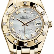 Rolex Pearlmaster 34 81318 White Mother of Pearl Roman Yellow...