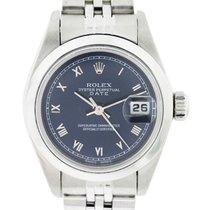 Rolex Date 79160 Blue Roman Dial Stainless Steel Ladies Watch