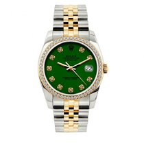 Rolex Datejust Men's 36mm Green Dial Yellow Gold And...