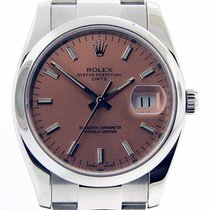 Rolex Date 34mm Stainless Steel Pink Stick Dial 115200...