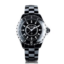Chanel J12 38mm Black Ceramic Diamond Ladies Watch H1625