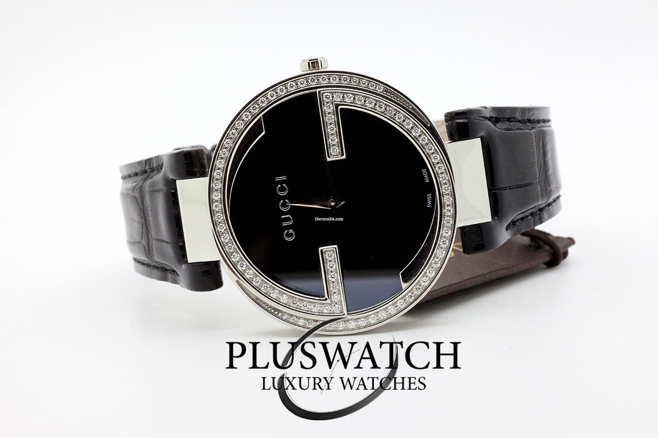 20d7ec974d0 Gucci Interlocking Black Dial Diamonds YA133306 G for AU  4