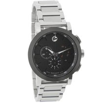 Movado Museum Mens Black Dial Swiss Quartz Chronograph Watch...