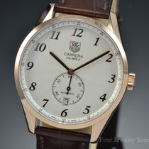 TAG Heuer Carrera Heritage 18K Rose Gold Brown Leather...