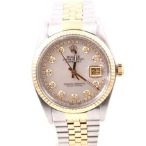 Rolex Mens 18K/SS Datejust MOP String Diamond Dial, Jubilee...
